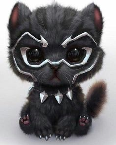 Black panther but cat - Marvel Comics Marvel Avengers, Chibi Marvel, Marvel Art, Marvel Heroes, Marvel Comics, Black Panther Marvel, Black Panther Art, Panther Cat, Deadpool Pikachu