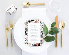 Floral Wedding Menu Printable - Blush Wedding Menu Printed - Modern Wedding Menu Cards - Digital Wedding Menu - Menu for Wedding - Menu PDF by MargauxPaperie on Etsy