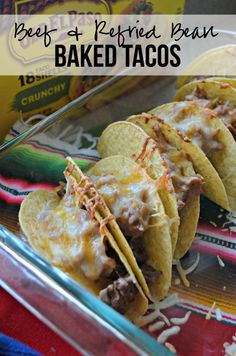 Elevate your game day entertaining by making my easy and quick recipe for Beef & Refried Bean Baked Tacos using Old El Paso products! Low Calorie Recipes, Quick Recipes, Beef Recipes, Mexican Food Recipes, Beef Burrito Recipe, Baked Tacos Recipe, Ceramic Baking Dish, Glass Baking Dish, Delicious Dinner Recipes