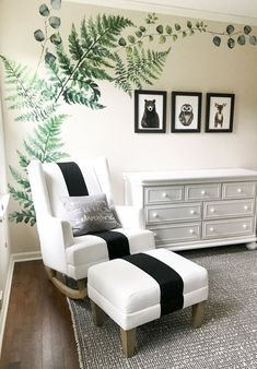 Woodland Creatures Nursery Decor For Baby Boy Or Girl. Designing the perfect gender neutral nursery. Black, white, and green nursery colors.