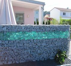 stone glass gabion wall http://www.gabion1.co.uk