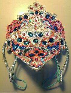 New Brazilian Samba Costume Head Piece headdress neon coral and aqua