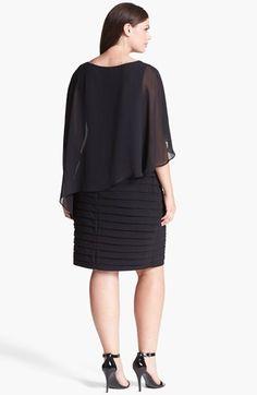 Adrianna Papell Chiffon Overlay Shutter Pleat Sheath Dress (Plus Size) | Nordstrom