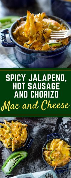 Forget the chicken and bacon, this Spicy Jalapeno, Hot Sausage and Chorizo Mac and Cheese recipe is baked right in the oven with creamy Velveeta cheese for a delicious weeknight meal! You could even throw it in the crockpot to make it easy! #homemademacandcheese #easymacandcheeserecipes #jalapenomacandcheese #gogogogourmet