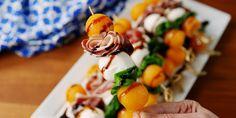 1 cantaloupe  12 fresh basil leaves  8 oz. mozzarella balls (ciliegine)  12 slices prosciutto  Balsamic glaze, for drizzling    Or an Italian skewer with cherry tomatoes vs. cantaloupe