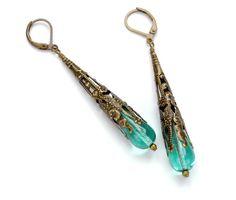 Victorian Steampunk Earrings Aqua Blue Earrings Victorian Earrings Antique Brass Dangle Earrings Steam Punk Jewelry Victorian Curiosities