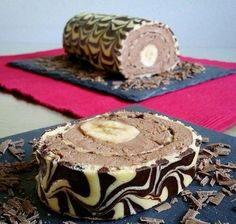 Pastel de plátano y chocolate, - Fingerfood Rezepte Schnell Kalt Chocolate Roll Cake, Chocolate Snacks, Cheesecake Cake, Yummy Cakes, Finger Foods, Vegan Recipes, Food And Drink, Dessert Recipes, Cookies