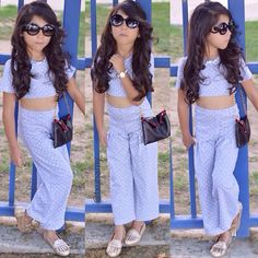 We are just so in LVE with this outfit!Crop Top and pants from Cute Kids Fashion, Little Girl Fashion, Toddler Fashion, Outfits Niños, Outfits For Teens, Toddler Outfits, Toddler Girls, Cute Little Girls Outfits, Dresses Kids Girl