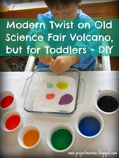 A modern take on the old science fair volcano experiment, but for toddlers!  Great for Spring break!