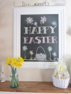 Junk Chic Cottage  chalkboard with white frame  Happy Easter