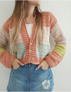 Mode Crochet, Diy Crochet, Crochet Crafts, Crochet Baby, Crochet Projects, Gilet Crochet, Crochet Cardigan, Crochet Stitches, Motif Bikini