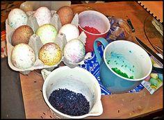 Ostereier färben mit Reis
