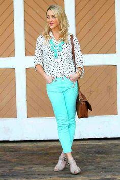 Mint jeans, blouse, statement necklace.
