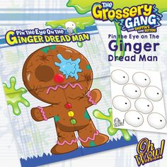 Grossery Gang Theme Pin The Eye on The Ginger Dread Man Party Game by OhWowDesign