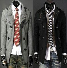 Wholesale Mens Double PEA Woolen Trench Coat
