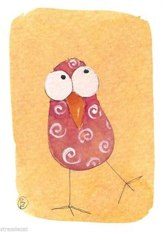 ACEO Original watercolor Folk Art painting whimsical birds twiddle dee & dum