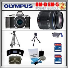 Olympus OM-D E-M5 Silver 16MP Digital Camera - Olympus 14-42mm Lens - Olympus 40-150mm Lens - 2x 32GB SDHC Memory Card - USB Memory Card Reader - Memory Card Wallet - Carrying Case - Lens Cleaning Kit - Full Size and Mini Tripods by Olympus. $1239.99. Olympus OM-D E-M5  The OM-D's new electronic viewfinder (EVF), with 120 fps refresh rate, features a high-resolution 1.44-million dot LCD, 100% field-of-view coverage, and 1.15x maximum magnification that let you totally immers...