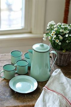 Set your table with bright aquamarine dishes.