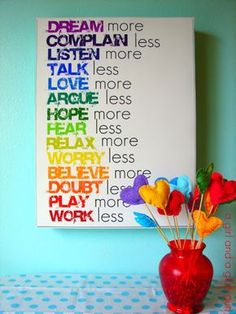 42 DIY Room Decor for Girls - Rainbow Text Wall Art - Awesome Do It Yourself Room Decor For Girls, Room Decorating Ideas, Creative Room Decor For Girls, Bedroom Accessories, Insanely Cute Room Decor For Girls http://diyjoy.com/diy-room-decor-girls
