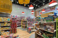 MP Brinquedos - Estúdio Jacarandá Shop Lego, Industrial Loft, Toys Shop, Basketball Court, Concept, Interior Design, Store, Shopping, Toy Store