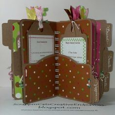 File folder mini cookbook - can request .cut file for Cricut