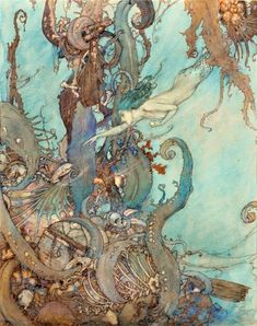 """""""At the mere sight of the bright liquid.they drew back in terror."""": illustration from 'The Mermaid', 1911 edition of 'Stories from Hans Andersen' (artwork by Edmund Dulac) Edmund Dulac, Art Nouveau, Drawn Art, Ouvrages D'art, Art Et Illustration, Mermaid Illustration, Mermaids And Mermen, Fantasy Mermaids, Fairytale Art"""