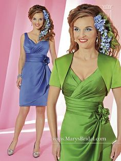 In periwinkle blue or lime green. Flattering draping, a great hem length (just above the knee is universally flattering), and a cute short-sleeved jacket.