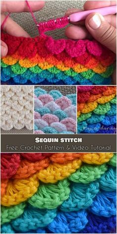 Sequin Stitch [Free Crochet Pattern and Video Tutorial] Crocheting stitch very similar to crocodile stitch but not so complicated easy. Good for amigurumi (owls fish tail mermaid blankets etc. Crochet Stitches Free, Stitch Crochet, Crochet Afghans, Crochet Blanket Patterns, Free Crochet, Crochet Baby, Stitch Patterns, Knitting Patterns, Crochet Crocodile Stitch