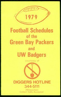 1979 GREEN BAY PACKERS WISCONSIN BADGERS DIGGERS HOTLINE FOOTBALL POCKET SCHEDULE