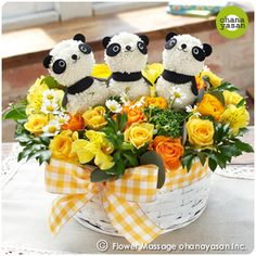 キュート!ポンポンマム(菊の花)で出来たパンダのフラワーアレンジメント。Cute! Animal dolls made with chrysanthemums.