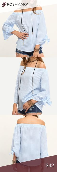 LAST ONENWTKnotted Sleeve Off The Shoulder Top Blue off the shoulder top. The perfect top for the office and a girls night out. Pair this with your favorite pair of jeans or a pencil skirt and some killer heels!  Clothing Length(cm) : S:61cm, M:62cm Sleeve Length(cm) : S:47cm, M:48cm Bust(cm) : S:96cm, M:100cm Color : Blue Sleeve Length : Long Sleeve MMC Tops Blouses
