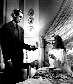 Cary Grant and Joan Fontaine in Hitchcock's Suspicion (1941).