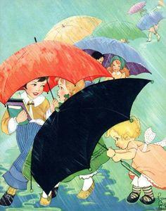 Top Pictures - Image from nnm.ru on Художник - иллюстратор Fern Bisel Peat :: NoNaMe Umbrella Art, Under My Umbrella, Walking In The Rain, Singing In The Rain, Walking Sticks, Vintage Children's Books, Vintage Postcards, Vintage Artwork, Vintage Cards