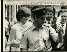 July 24, 1981: Lady Diana visits the Chershire regiment of which the Prince is Colonel-in-Chief. Lady Diana chatted to the army wives and their children: They receive the Prince of Wales feather as a wedding gift as they leave.