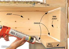 Sill plates and rim joists are usually poorly insulated (if at all) and very leaky. So if you have an unfinished basement, grab some silicone or acrylic latex caulk to seal the sill plate. If you simply have fiberglass insulation stuffed against the rim joist, pull it out. Run a bead of caulk between the edge of the sill plate and the top of the foundation wall. Use expanding spray foam anywhere there are gaps larger than 1/4 in. between the sill and the foundation. For hollow-block…