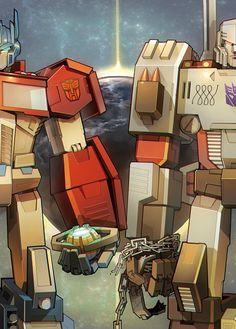 Optimus Prime and Megatron Gi Joe, Tf Art, Transformers Optimus Prime, Transformers Cybertron, Wattpad, Anime Comics, Cartoon, Futuristic Art, Cyborgs