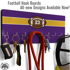 Organize and display important things like hats, keys, scarves, and chains on our all new football hook boards. They look great in any room of the house!