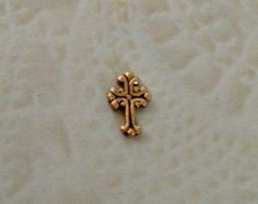 Floating charms  Vintage gold cross