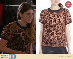 Sadie's beige and black floral collared top on Awkward.  Outfit Details: http://wornontv.net/32839/ #Awkward