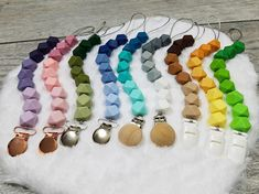 The Ombre Collection Hexagons Pacifier Clips, Dummy Holder, Bead Clip, Binky Holder, Teething Clip, Toy Leash, Colorful Gradient