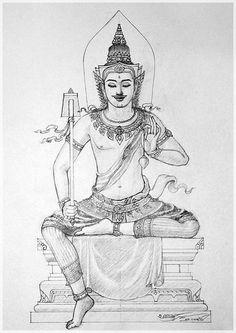 : Fun Learning traditional Thai Designs with JitdraThanee the Tutor Cambodian Art, Buddha Tattoo Design, Buddha Doodle, Thai Pattern, Thailand Art, Vietnam, Thai Tattoo, Thai Art, Hindu Art