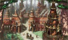 Pin by Justin Waddell on Rainforest/Jungle Game Fantasy art landscapes Forest village Fantasy village