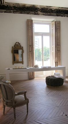Wood Floor & Wood Shutters & White Walls