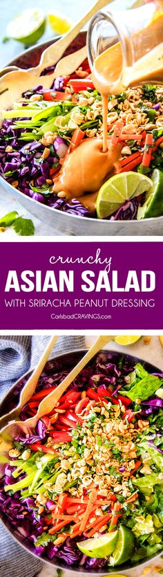 This Crunchy Asian Salad with Sriracha peanut Dressing is CRAZY GOOD! The combination of texures is amazing and the dressing is absolutely addicting! This salad is so good I was actually eating leftovers for breakfast! via @carlsbadcraving