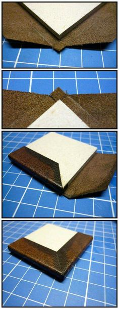 Leather corner fold