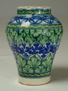 Mexican talavera jar - circa 1930. The underside bears the Uriarte signature, one of Puebla's most important talavera producers