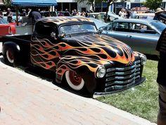 custom painted skull car   ... Anniversary Paso Robles Classic Truck Auto Show Custom Flame Paint Job