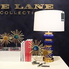 Alice Lane Home Collection   Cobalt blue and gold lamp