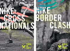 Nike Cross Country branding and event material by Christy Lee Zilka, Rehanah Spence, and Raina Drew Jung. Art Director, Nike, Empty, Advertising, It Is Finished, Branding, Posters, Graphic Design, Sports