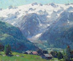 Edgar Alwin Payne - Distant Glaciers and High Country Huts